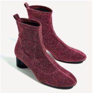 ZARA Pink Glitter Metallic Sock Ankle Bootie
